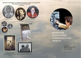 portraits gravées à la main sur plaque et stèle funéraire