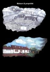 maison gravé à la main sur stèle en granite funéraire