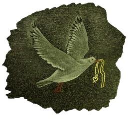 colombe gravée sur une stèle funéraire en granite